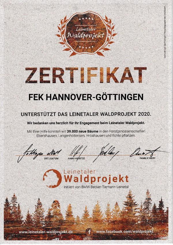 Leinetaler Waldprojekt Zertifikat