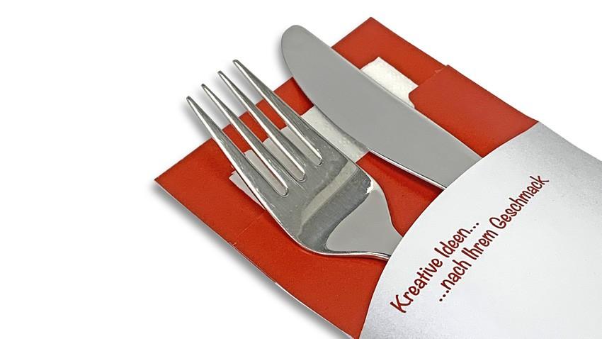 Bestecktasche + Serviette mit Ihrem Wunschmotiv